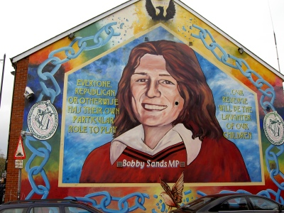 Bobby Sands' mural on the gable wall of Sinn Féin's Belfast office on the Falls Road