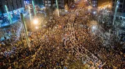 More than 100,000 Basques march for the repatriation of political prisoners in Bilbao in January 2014