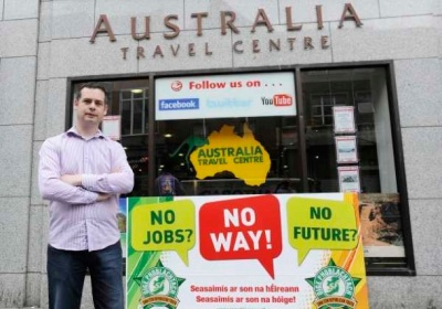 Pearse Doherty, Sinn Féin TD, visited Australia in 2012 and addressed the issue of Irish workers' rights