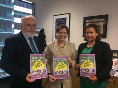 From left: Sinn Féin MP Francie Molloy, Australian Congress of Trade Unions President Ged Kearney and Sinn Féin deputy leader Mary Lou McDonald TD in Melbourne in September 2014