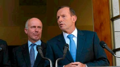 Prime Minister Tony Abbott, right, and Employment Minister Eric Abetz