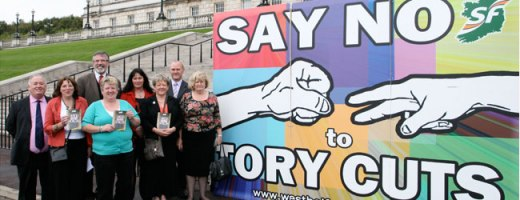Sinn Féin MLAs launch an anti-austerity billboard at Stormont