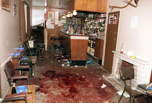 The scene after six Catholic men were killed by a UVF death squad as they watched Ireland play Italy in the World Cup in 1994