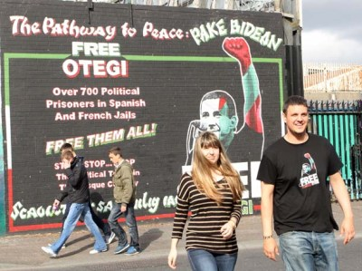 The children of jailed Basque pro-independence leader Arnaldo Otegi in Belfast
