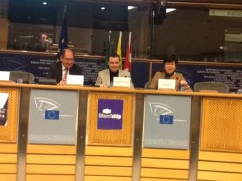 From left: Brian Currin, Mark Demesmaeker MEP, and Frieda Brepoeles
