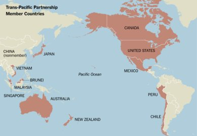 A map of TPP countries. Image from New York Times.