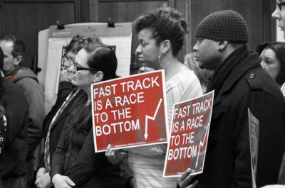 US workers protest against 'Fast Track', or the Trade Promotion Authority. Photo from AFL-CIO.