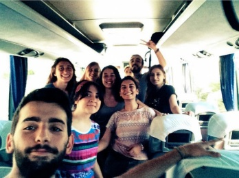Activists on the bus to Suruç before the bombing. (Victim Hatice Ezgi Sadet's Instagram)
