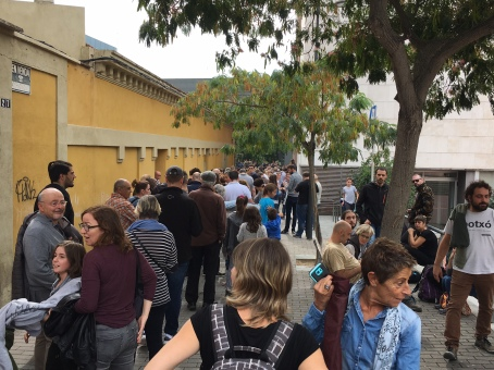Voters queue in Manresa